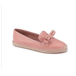 Red Valentino Blush Pink Leather Bow  Espadrilles